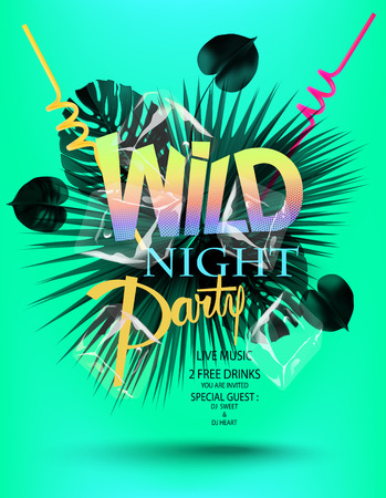 Colorful party invitation card with tropical leaves and colorful letters. Vector illustration