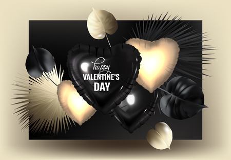 Tropical leaves and inflatable hearts. Gold and black. Vector illustration Ilustrace