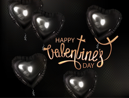 Black heart shaped air balloons. Vector illustration Ilustrace