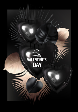 Valentines day background with tropical leaves and inflatabe hearts. Vector illustration