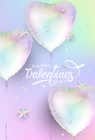Valentines day holographic background with heart shaped air balloons and squinces and stars. Vector illustration