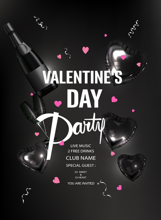 Valentines Day party invitation card with black inflatable hearts. Vector illustration