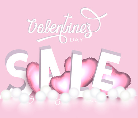Valentines day Sale banner with letters and inflatable hearts. Vector illustration Ilustrace