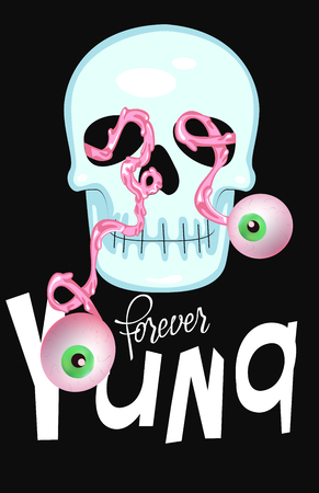 Forever young funny lettering with skull and jumping eyes. Vector illustration