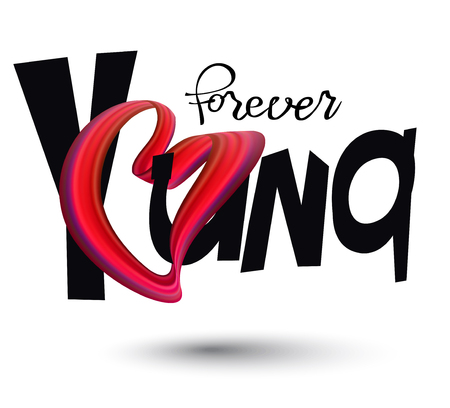 Forever young lettering with o in heart og heart. Vector illustration