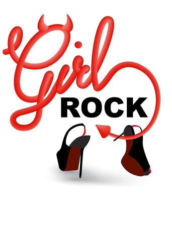 Girls rock devil style lettering and high heels. Vector illustration Ilustrace