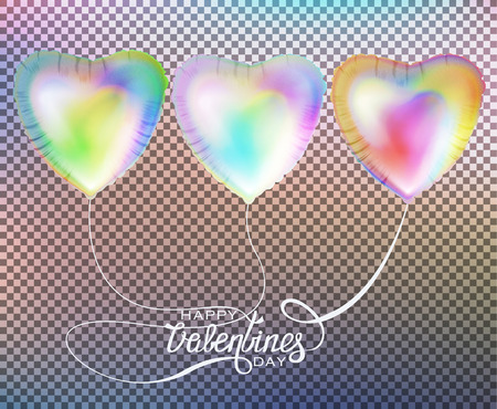 Holographic colored heart shaped air balloons. Valentines Day. Vector illustration