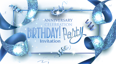 Birthday party banner with blue textured ribbon. Vector illustration Ilustrace