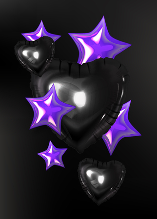 Inflatable hearts and stars. Vector illustration