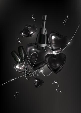 Glasses of champagne. Vector illustration