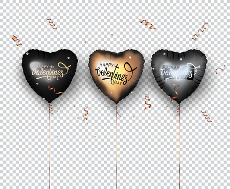 Set of heart shaped air balloons and confetti. Vector illustration