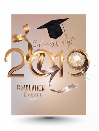 Graduation party 2019 invitation card with gold ribbon and sparks. Vector illustration