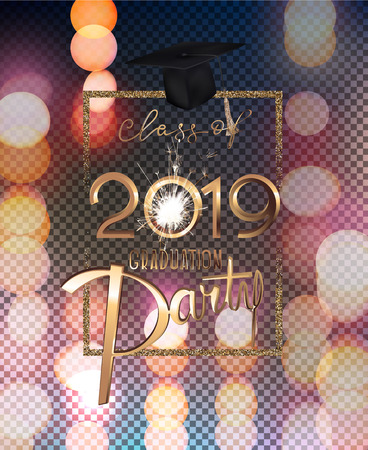 Graduation party 2019 invitation card with bokeh background and golden frame. Vector illustration