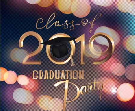 Graduation party 2019 invitation card with bokeh background and sparklers. Vector illustration