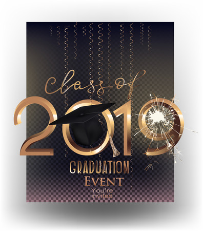 Graduation party 2019 invitation letters and sparks and serpentine. Vector illustration Ilustrace