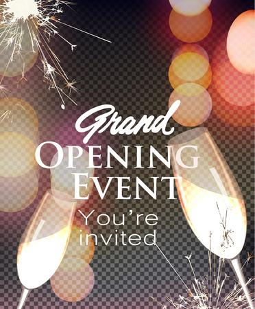 Grand opening invitation card with bokeh background. Vector illustration