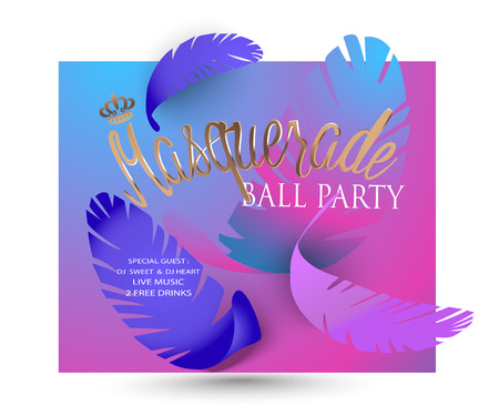 Masquerade background with colorful paper feathers. Vector illustration Ilustrace