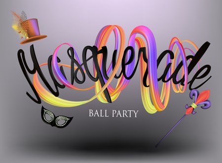 Masquerade ball party invitation card with levitating carnival objects and lettering. Vector illustration