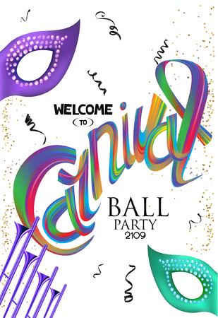Carnival background with colorful letters, trumpets, masks and confetti. Vector illustration Ilustrace