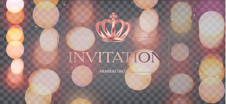 Elegant invitation card with blurred lights and golden crown. Vector illustration