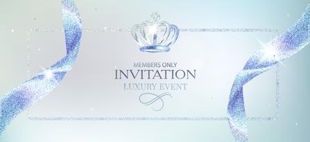 Elegant invitation light blue card. Vector illustration