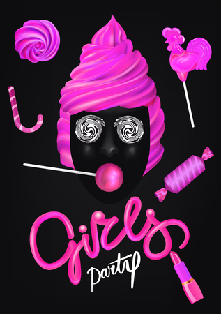 Girls party poster with pink sweets and lipstick. Vector illustration