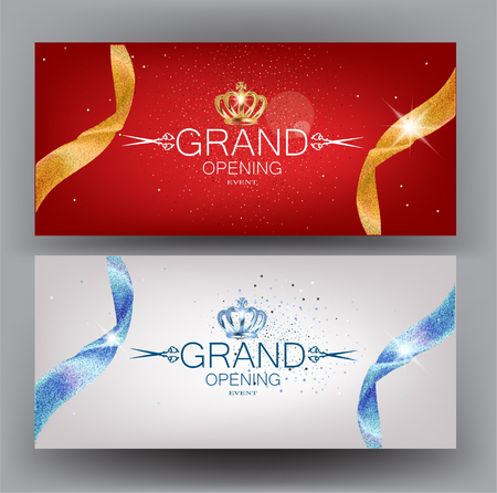 Grand opening cards with beautiful ribbons. Vector illustration