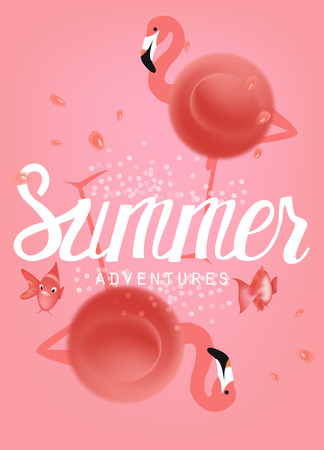 Summer coral colored banner with abstract flamingos, fishes and drops of water. Vector illustration