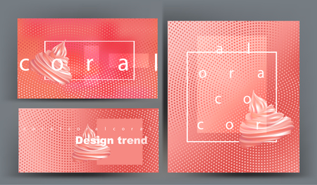 Coral color banners with abstract design and cupcakes. Vector illustration
