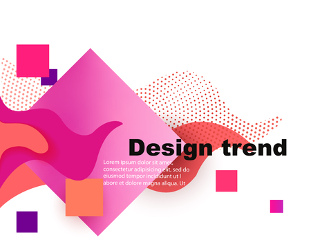 Coral colored landing page with abstract geometric objects. Vector illustration