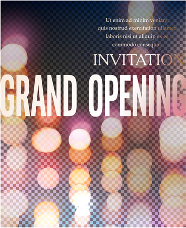 Elegant grand opening invitation card with bokeh beckground. Vector illustration