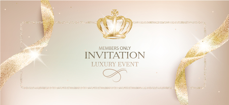 Elegant invitation beige card with sparkling ribbons and crown. Vector illustration Ilustrace