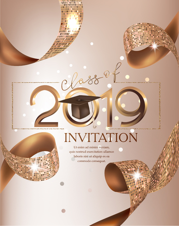 Graduation party class 2019 beige card with golden ribbons. Vector illustration Ilustrace