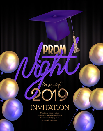 Prom night poster with colorful air balloons and graduation cap. Vector illustration Foto de archivo - 118473870