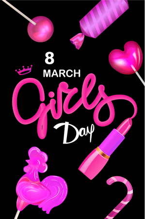 8 march Girls day poster with candies and lipstick. Vector illustration Ilustrace