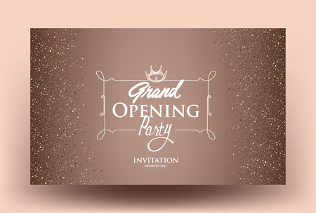 Beige Grand Opening card with dust and vintage golden frame. Vector illustration