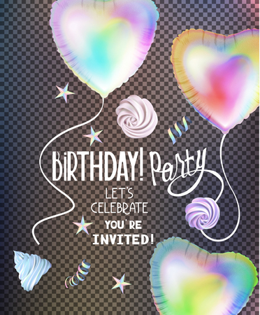 Birthday party banner with colrful heartshape ait balloons cup cakes. VEctor illustration Ilustrace