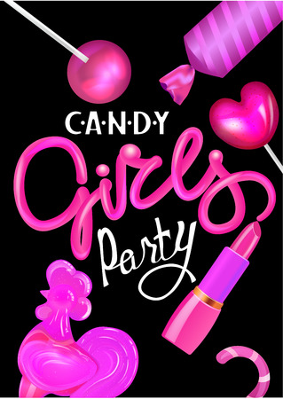 Candy girl party poster with pink sweets and lettering from lipstick. Vector illustration Ilustrace