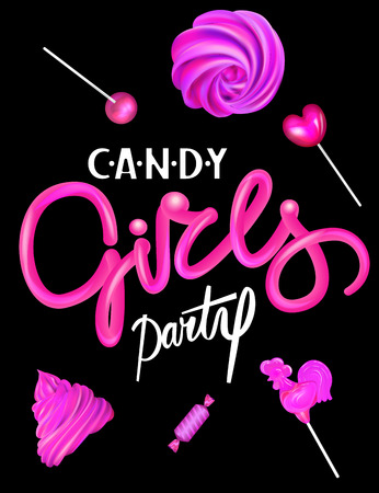 Candy girls party banner with levitating pink sweet products. Vector illustration