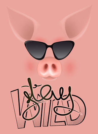 Stay wild lettering and funny pig in sun glasses. Vector illustration Çizim