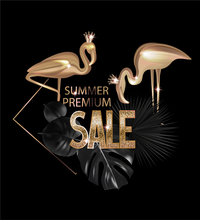 Premium sale banner with tropical objects. Gold and black. Vector illustration Vektorgrafik