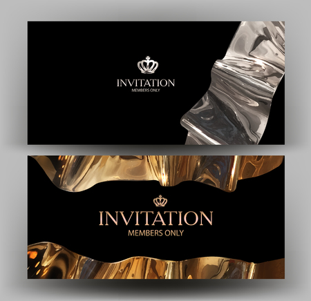 VIP card with gold curved element. Vector illustration