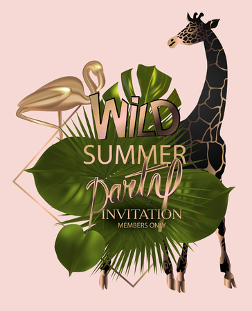 Wild summer party invitation cars with giraffe and flamingo and tropical leaves. Vector illustration Foto de archivo - 126176879