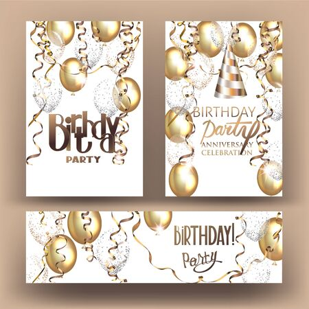 Birthday party banners with air balloons and serpentine. Vector illustration