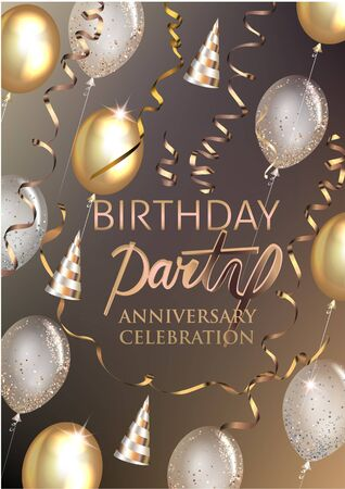 Birthday party shiny banner with air balloons, party hats and serpentine. Vector illustration