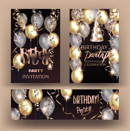 Birthday party shiny banners with air balloons and serpentine. Vector illustration