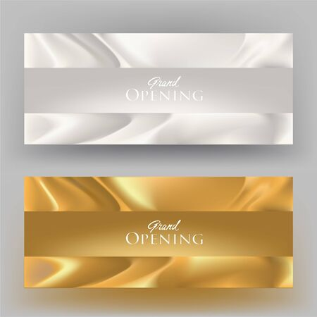 Grand opening banners with atlas fabric Vector illustration