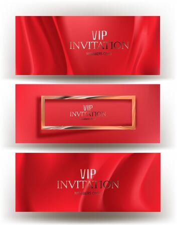 Tarjetas de invitación con tela roja en el fondo. Ilustración vectorial