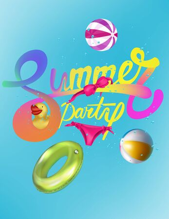 Summer party card with swimming pool objects. Vector illustration