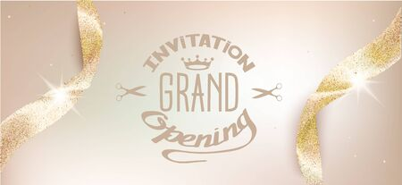 Elegant grand opening beige invitation card with sparkling ribbons. Vector illustration
